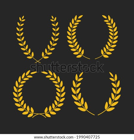 Set of golden laurel wreaths of different shapes isolated on black