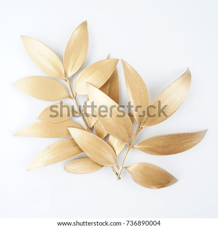 Set of golden leaf design elements. Decoration elements for invitation, wedding cards, valentines day, greeting cards. Isolated on white background. #736890004