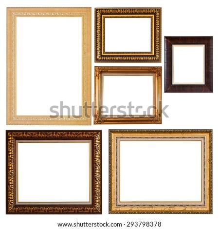 Set of golden vintage frame isolated on white