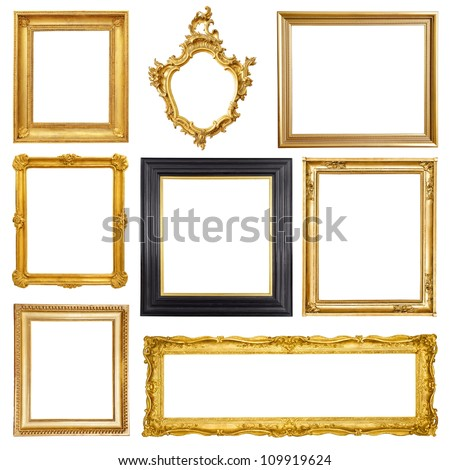 Set of golden vintage frame isolated on white background #109919624
