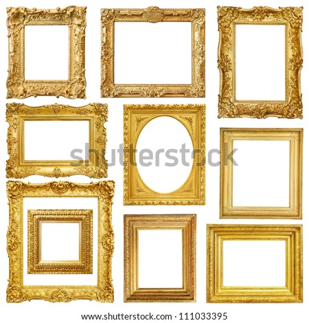 Set of golden vintage frame isolated on white background #111033395