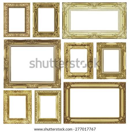 set of golden vintage frame...