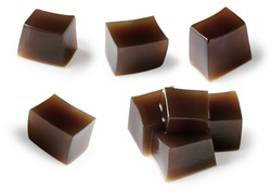 Set of Grass jelly (Mesona chinensis)  Cubes transparency Isolated ,Black jelly cube.