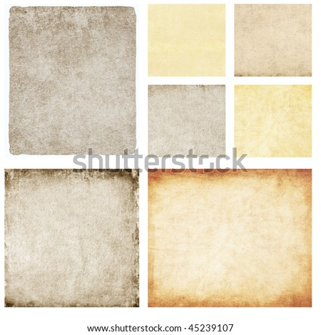 Set of great paper textures isolated on white