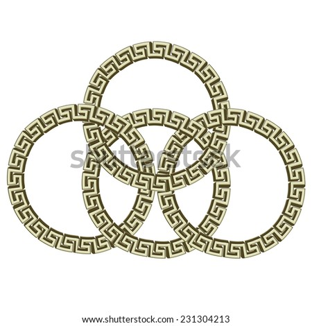 Set Of 4 Greek Key Circles Chained Isolated On White Illustration