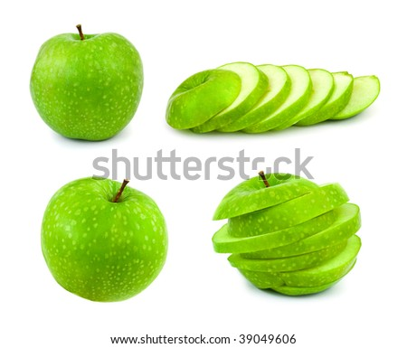 Set of green apples isolated on white background