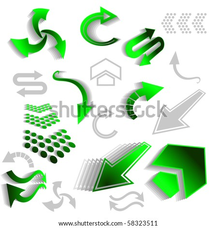 Set of green arrow icons for web design - also as emblem or logo template. Vector version also available