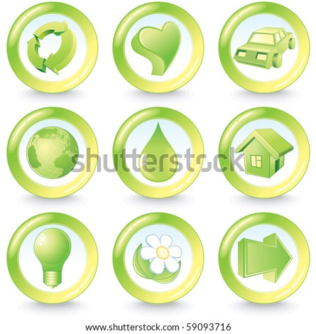 Set of green beauty ecology buttons (id=57785761 vector version)