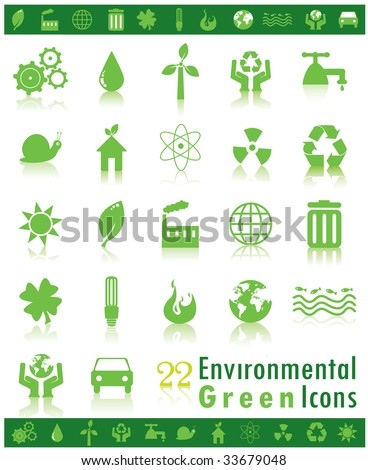 Set of Green Environmental Icons - stock photo