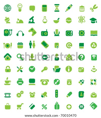 Set of 72 green icons. Raster version. Vector version is also available.