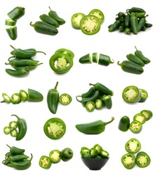 Set of green jalapeno peppers collection