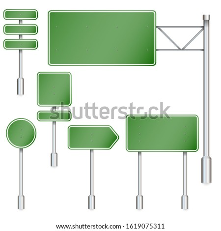 Set of green road signs. Road board. Direction sign on the highway. image.