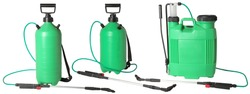 Set of green spraying fertilizers isolated on white background. Hand-pumped sprayer. Garden accesories