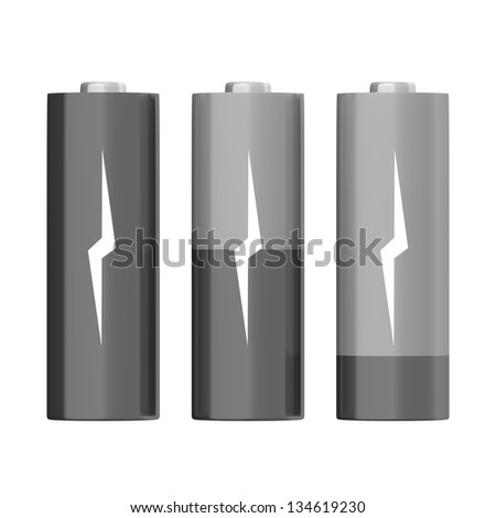 Set of grey batteries with different charging levels, isolated on white background