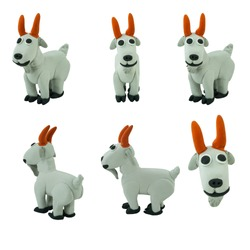 Set of grey goat made from plasticine on white background