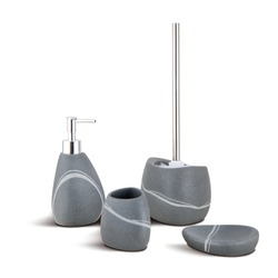 Set of grey stone bathroom accessories. Soap dish, toothbrush holder, toilet brush.