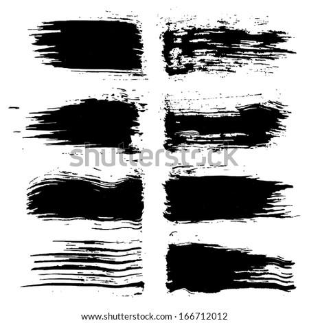 Set of grunge brush strokes. Black brush strokes collection. Black paint spots set