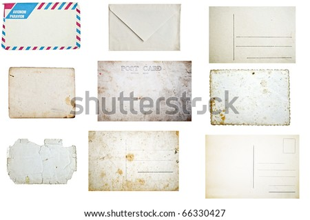 Set of grunge empty postcards and envelopes isolated on white background