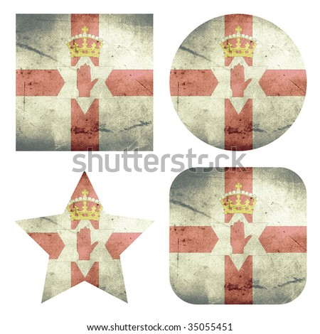 set of 4 grunge flag buttons of northern ireland