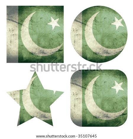 set of 4 grunge flag buttons of pakistan