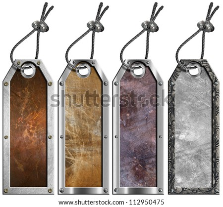 Set of Grunge Metal Tags - 4 items / Four empty grunge metallic tags with steel cable and metal rivets