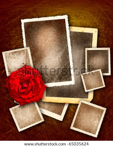 set of grunge picture borders with red rose on gold background in valentine day theme