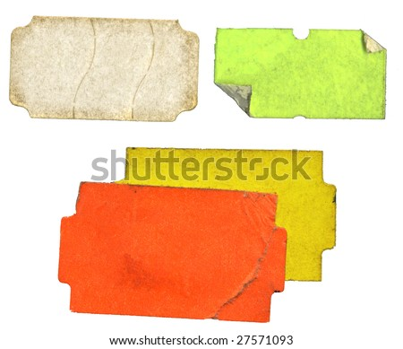 Set of grungy adhesive  labels, price stickers, tags, free copy space