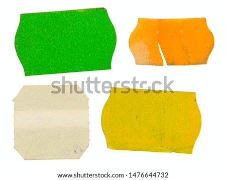 Set of grungy adhesive price stickers, price tags, with free copy space, isolated on white background