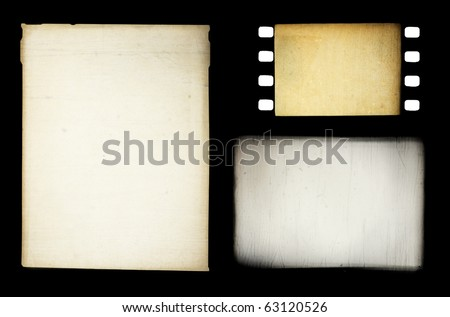 Set of grungy different film frames, isolated on black.