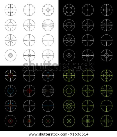 Set of 12 gun sight crosshairs in four different versions for a total of 48 different crosshairs. Positive, negative, night vision, and color versions.