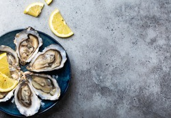 Set of half dozen fresh opened oysters in shell with lemon wedges served on rustic blue plate on gray stone background, close up, top view, space for text