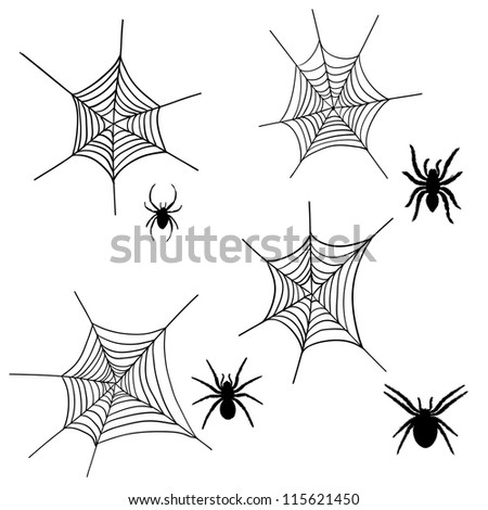 Set of halloween black spider with nets.Raster version.