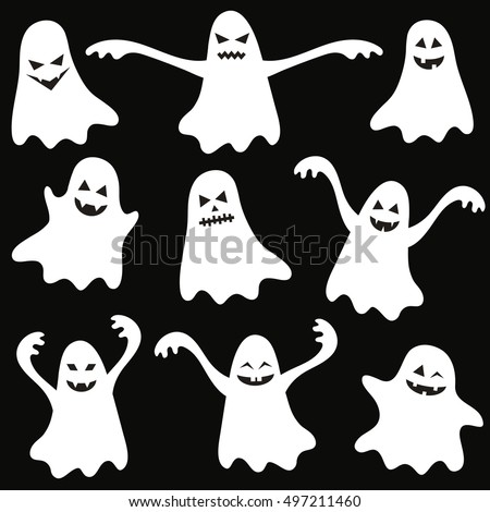 Set of halloween funny ghosts. Raster version