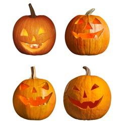 Set of halloween pumpkin head jack lanterns on white background