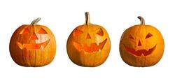 Set of halloween pumpkin head jack lanterns on white background. Banner design