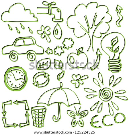 set of hand drawings on the theme of ecology - stock photo