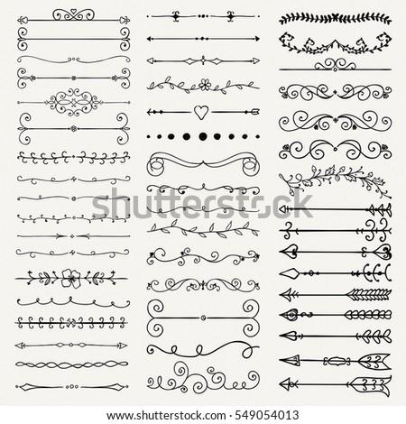 Set of Hand Drawn Black Doodle Design Elements. Decorative Floral Dividers, Arrows, Swirls, Scrolls. Vintage Illustration.