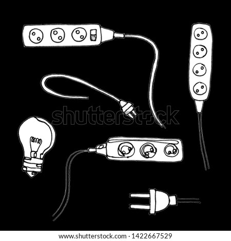 Set of Hand Drawn Cables and Wires Outline. Black and white linear drawing. Multiple outlets.