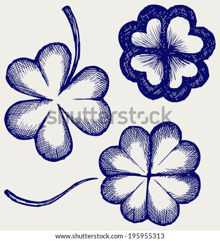 Set of hand drawn clovers. St. Patrick's day. Doodle style. Raster version