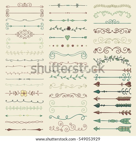 Set of Hand Drawn Colorful Doodle Design Elements. Decorative Floral Dividers, Arrows, Swirls, Scrolls. Vintage Illustration.