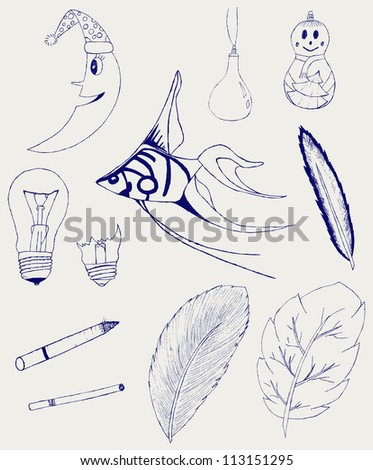 Set of Hand-Drawn Design Elements, Shapes, lightbulb, crescent, cigarette, fish, foliage, christmas toy. Raster version