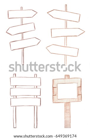 Set of hand drawn direction arrows #649369174
