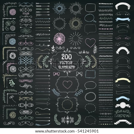 Set of 200 Hand Drawn Doodle Design Elements. Rustic Decorative Line Borders, Dividers, Arrows, Swirls, Scrolls, Ribbons, Banners, Frames Corners Objects on Chalkboard Taxture. Illustration