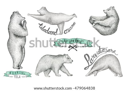 set of hand drawn  illustration ...
