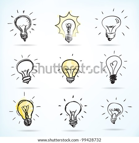Set of Hand-drawn light bulbs, symbol of ideas - JPG version of a vector illustration from my portfolio