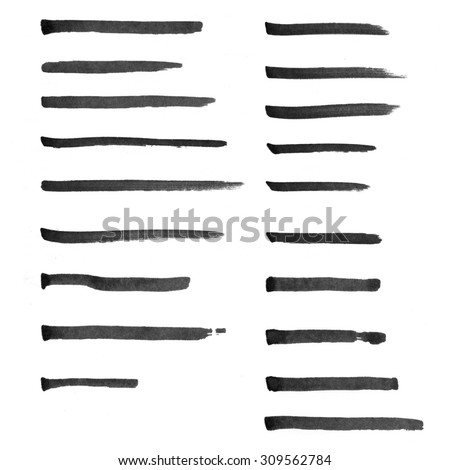 Set of hand drawn marker lines to highlight words
