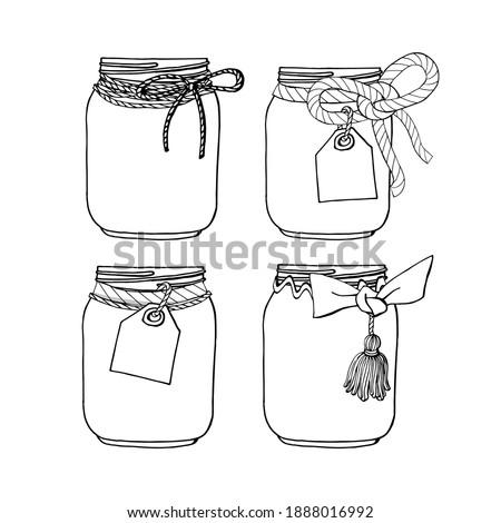 Set of hand drawn mason jars with bows and tags. Stock illustration ストックフォト ©
