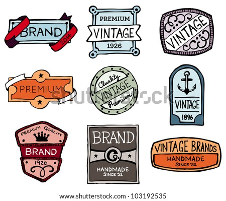 Set of hand-drawn vintage premium quality badges and labels