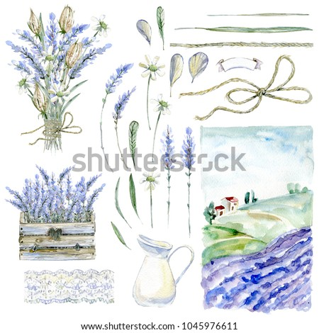 Set of hand drawn watercolor clipart. Provence atmosphere, lavender and rustic vintage illustration.