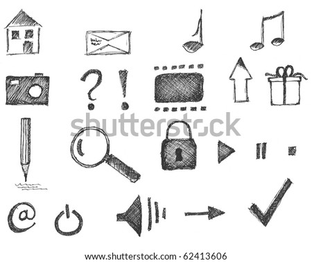 Set of hand drawn web  icons isolated  on white background - stock photo